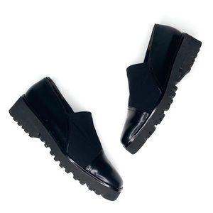 Vtg Paul green munchen•black vibram loafers